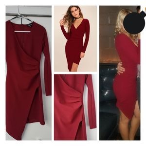 Love Me Completely Dark Red Long Sleeve Bodycon Dr